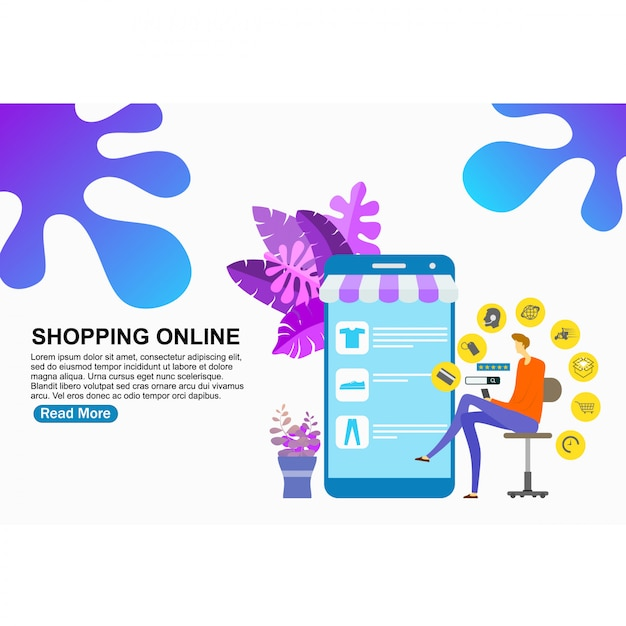 Landing page template shopping online Premium Vector