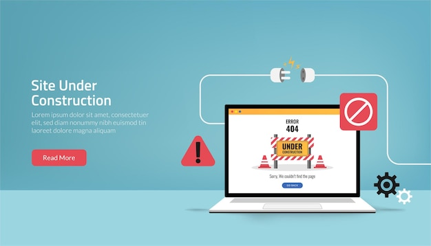 Landing page template of site is under construction concept. maintenance error symbol Premium Vector