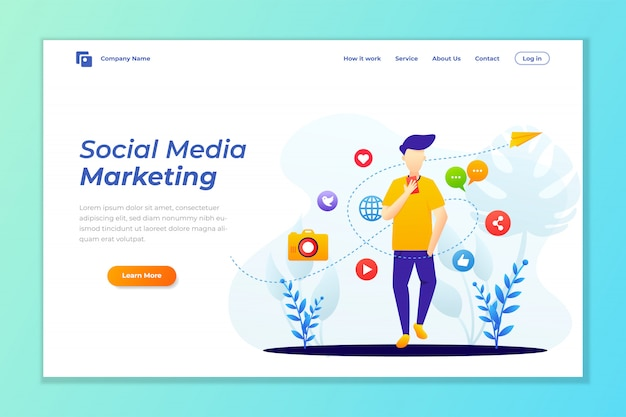 Landing page template of social media marketing Premium Vector