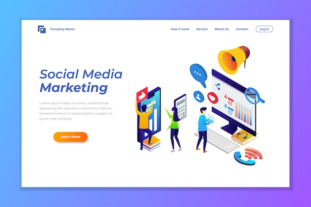 Landing page template of social media marketing Premium Vector