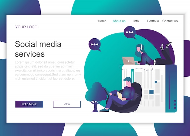 Landing page template of social media services Premium Vector