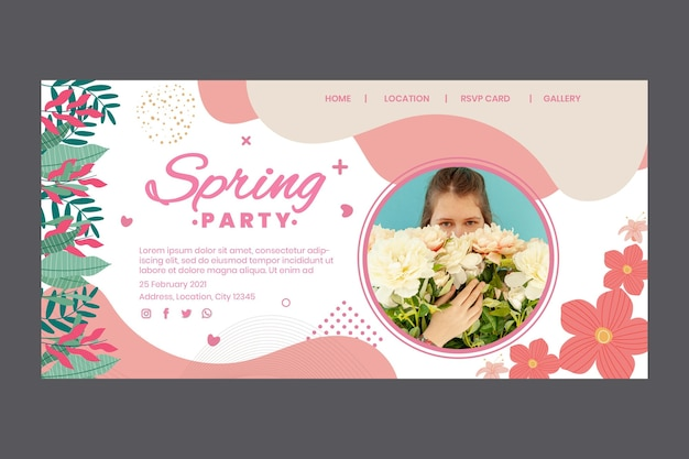 Landing page template for spring party with woman and flowers Free Vector