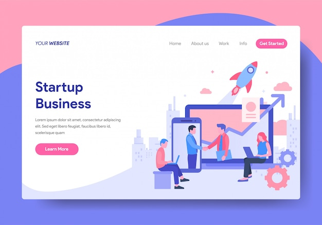 Landing page template of startup business Premium Vector