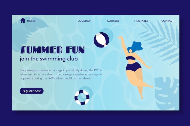 Landing page template for swimming club Free Vector