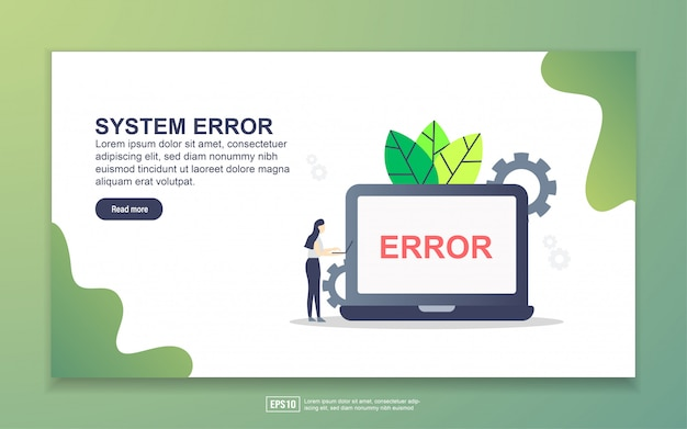 Landing page template of system erro Premium Vector