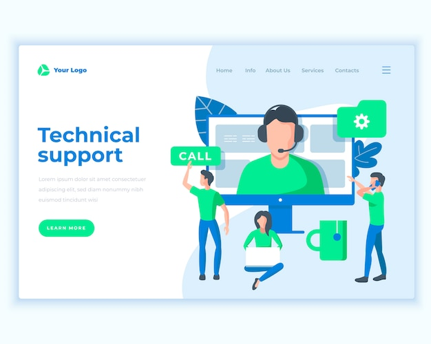Landing page template technical support concept with office people. Premium Vector