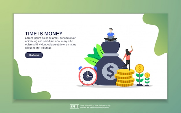Landing page template of time is money Premium Vector