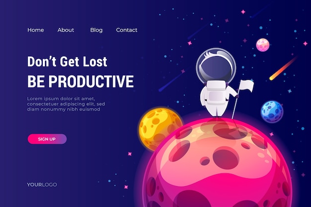 Landing page template of the universe Free Vector