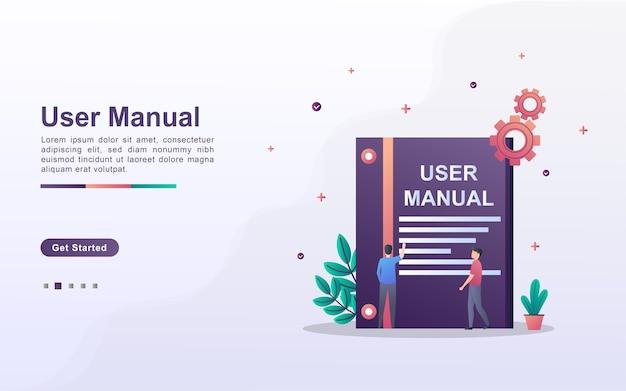 Landing page template of user manual Premium Vector