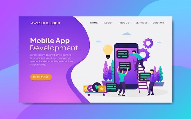 Landing page template vector flat illustration of co working team mobile app development. Premium Vector