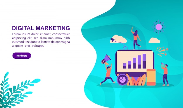 Landing page template, vector illustration concept of digital marketing with character. Premium Vector