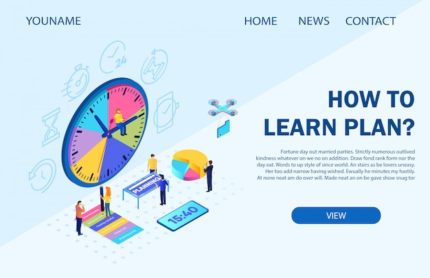 Landing page template. vector illustration inscription how to learn plan Premium Vector