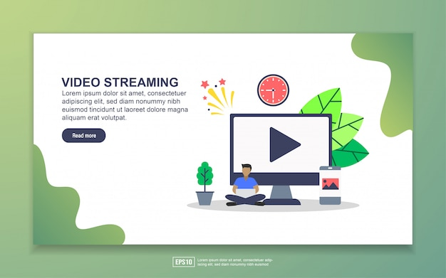 Landing page template of video streaming. modern flat design concept of web page design for website and mobile website Premium Vector