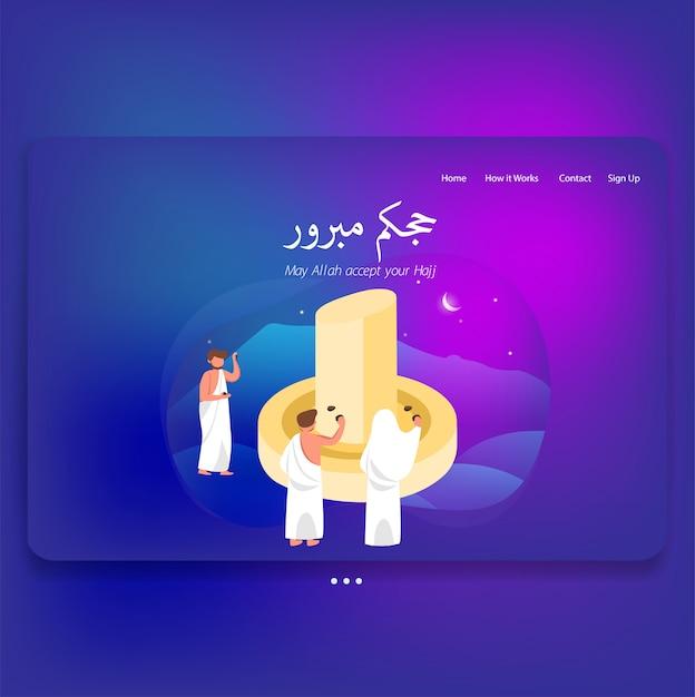 Landing page template web theme of hajj mabrour illustration Premium Vector