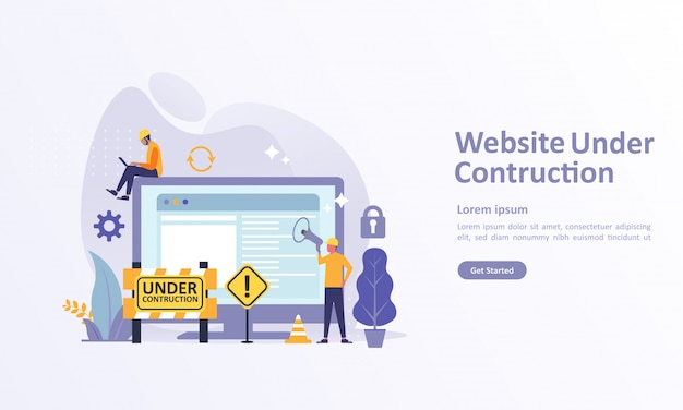 Landing page template of website developer Premium Vector