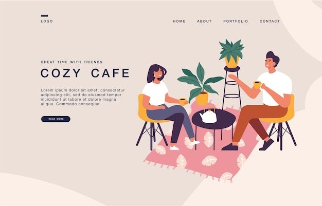 Landing page template for websites with couple sitting at the table, drinking tea or coffee and talking. coxy cafe concept illustration banner. Premium Vector