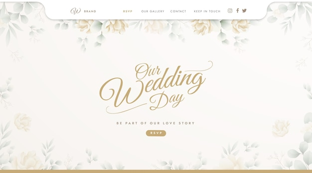 Landing page template for wedding Free Vector