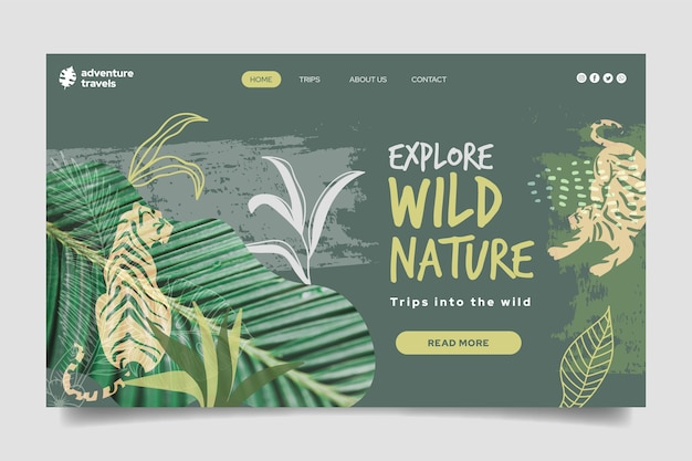 Landing page template for wild nature with vegetation and tiger Free Vector