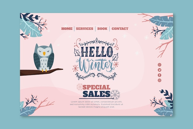 Modello di pagina di destinazione per la vendita invernale con gufo Vettore gratuito