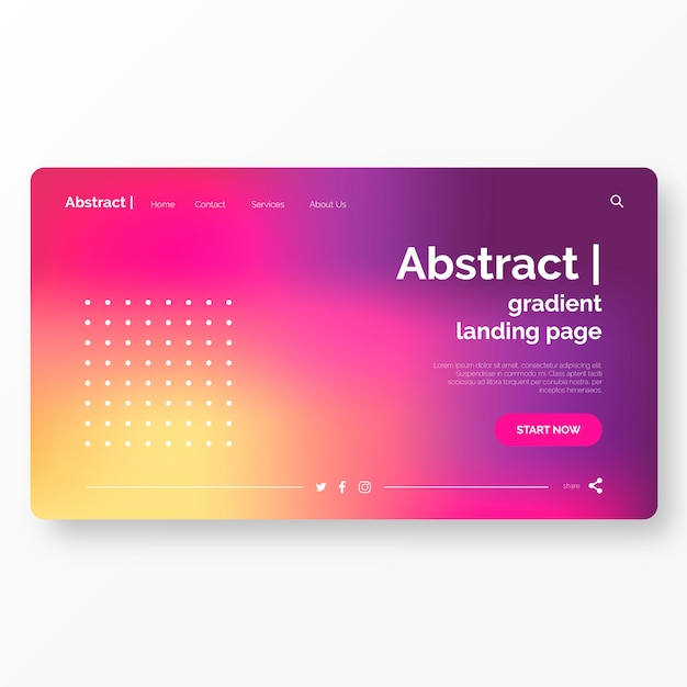 Landing page template with abstract background Free Vector