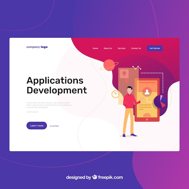 Landing page template with app development concept  Free Vector