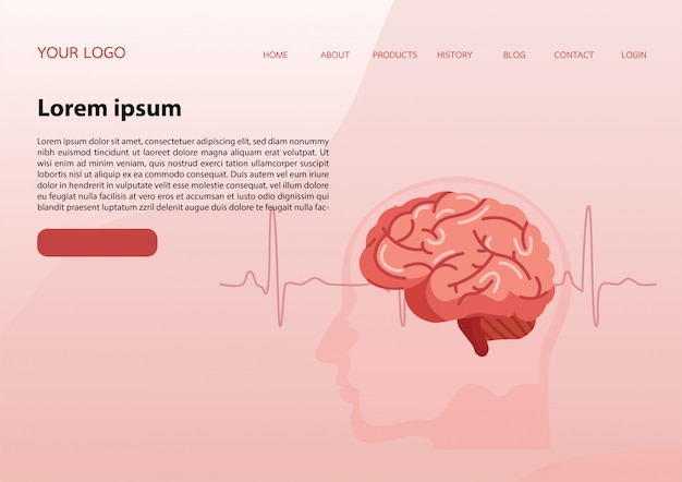 Landing page template with a brain Premium Vector