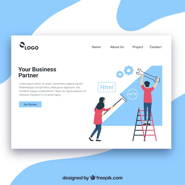 Landing page template with business concept Free Vector