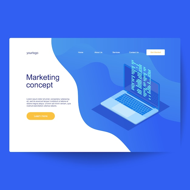 Landing page template with computer code with windows on laptop screen. Premium Vector
