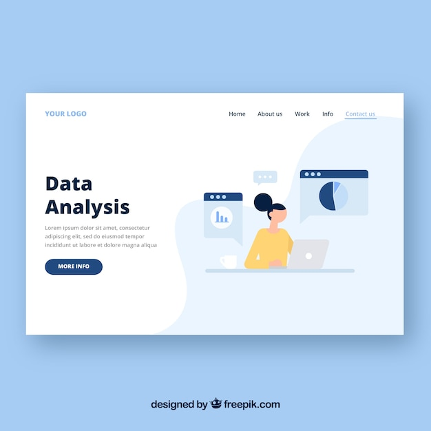 Landing page template with data analysis concept Free Vector