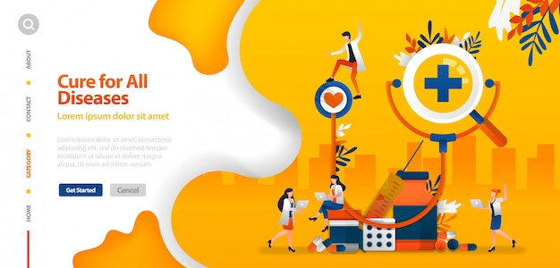 Landing page template with doctor is cure for all diseases. giant stethoscope with drugs vector illustration Premium Vector
