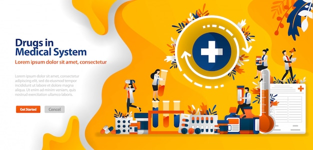 Landing page template with drugs in medical systems, medicines and medical equipment and cross Premium Vector