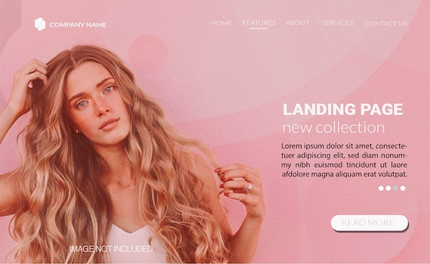 Landing page template with fashion concept Free Vector