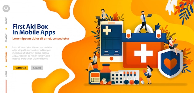 Landing page template with first aid box in the mobile application, to protect patient health and comfort vector illustration concept Premium Vector