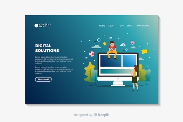 Landing page template with gradient shapes Free Vector