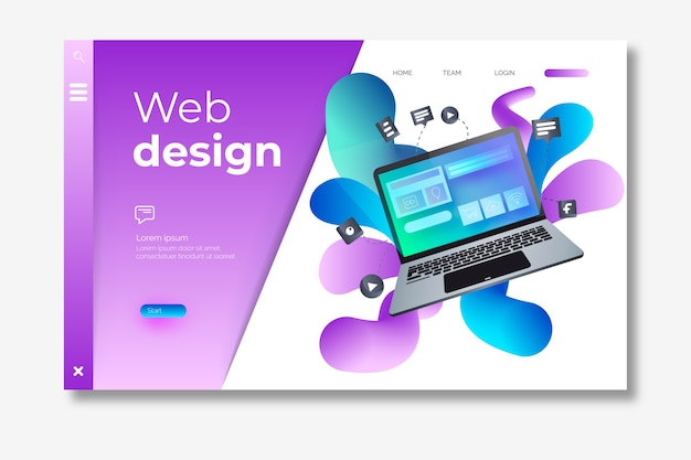 Landing page template with isometric laptop Free Vector