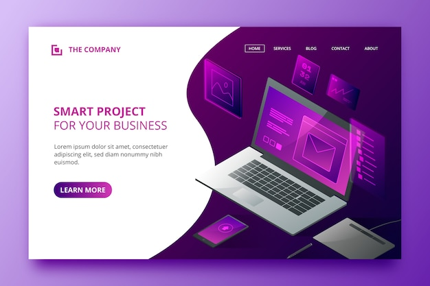 Landing page template with laptop Free Vector