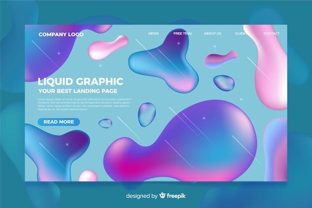 Modello di pagina di destinazione con forme liquide Vettore gratuito