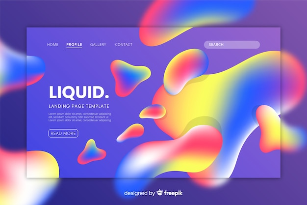 Landing page template with liquid shapes Free Vector