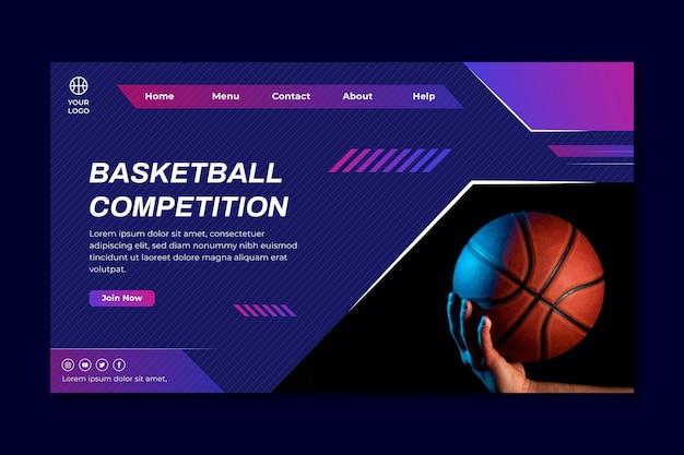 Modello di pagina di destinazione con giocatore di basket maschile Vettore gratuito