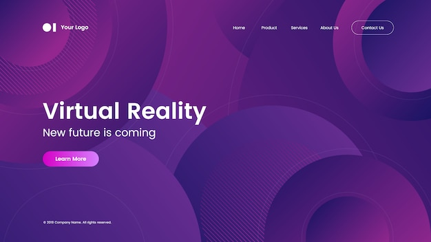Landing page template with modern abstract gradient design Premium Vector
