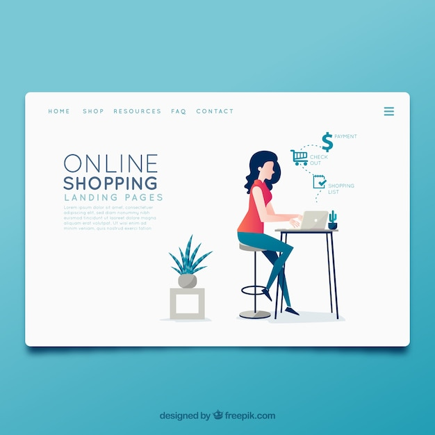 Landing page template with online shopping concept Free Vector