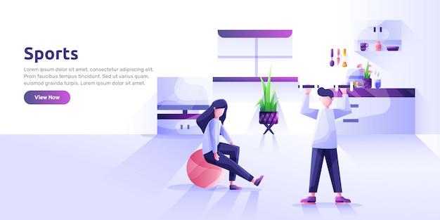 スポーツ活動や健康食品を実行する人々のランディングページテンプレート。健康的な習慣、アクティブなライフスタイル、フィットネス、食事の栄養。広告のためのモダンなイラスト。 Premiumベクター