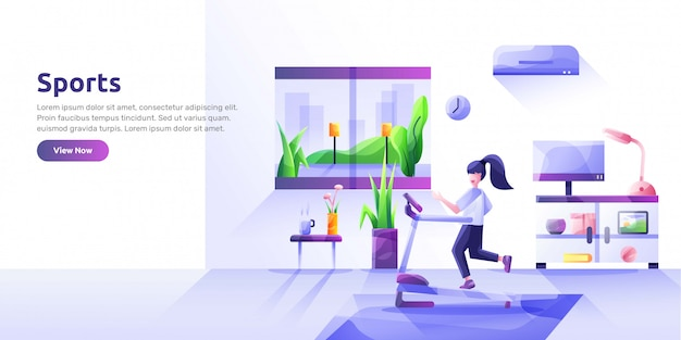 Landing page template with people performing sports activities and wholesome food. healthy habits, active lifestyle, fitness, dietary nutrition. modern   illustration for advertisement. Premium Vector