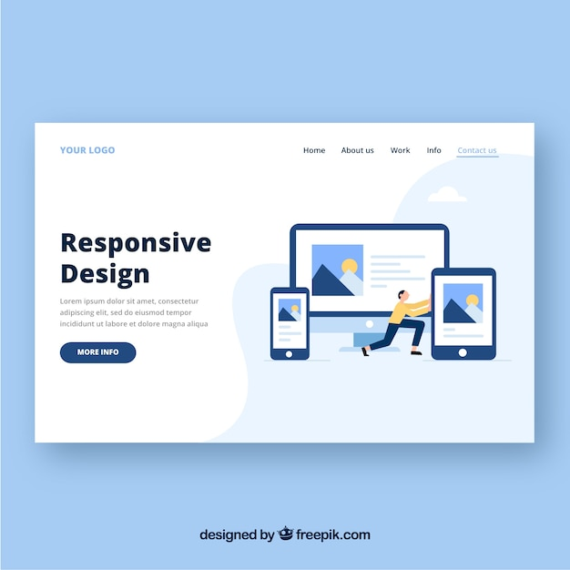 Landing page template with responsive design concept Free Vector