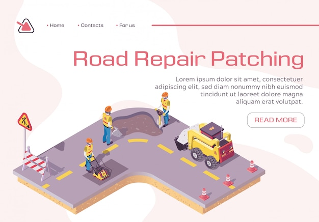 Landing page template with road repair, excavator cover hole in ground with concrete Premium Vector
