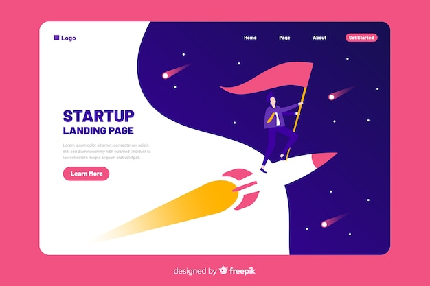 Landing page template with a rocket Free Vector