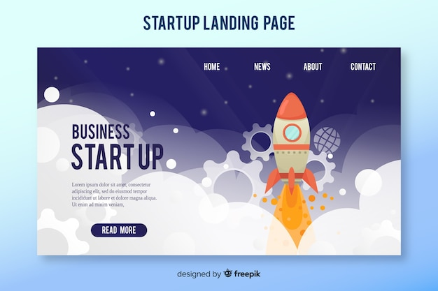 Landing page template with a rocket Premium Vector