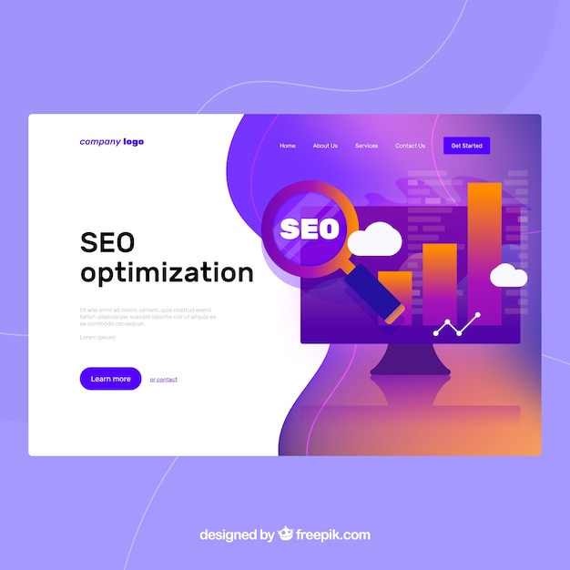 Landing page template with seo concept Free Vector