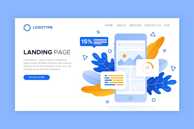 Landing page template with smartphone Free Vector