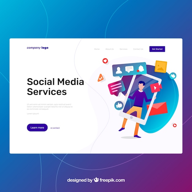 Landing page template with social media concept Free Vector